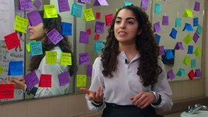 Stefania Restagno speaks about the Post-It movement with CTV News in this undated image.