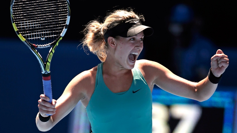 Eugenie Bouchard of Canada celebrates after defeating Ana Ivanovic of Serbia during their quarterfinal at the Australian Open tennis championship in Melbourne, Australia, Tuesday, Jan. 21, 2014. (AP / Rick Rycroft)