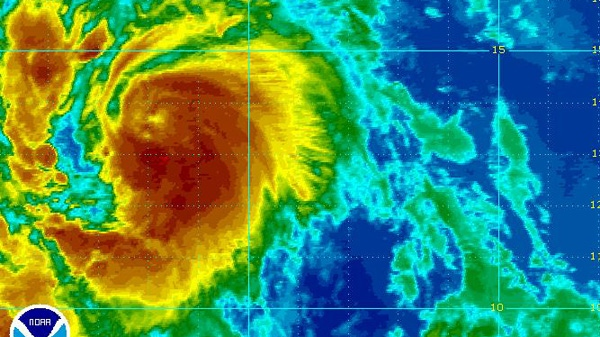 Tropical Storm Katia moves across the Atlantic as seen in this enhanced NOAA satellite image taken at 9:45 p.m. ET, Tuesday, Aug. 30, 2011.