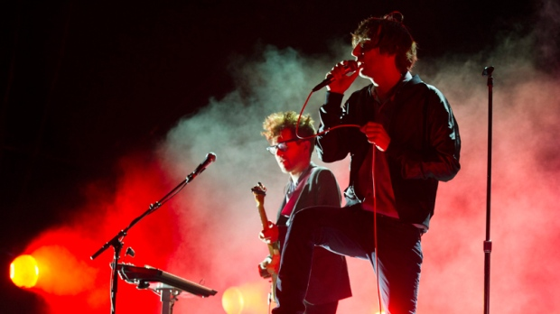 Thomas Mars, right, and Laurent Brancowitz perform