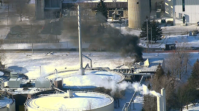 Smoke rises from a building at the Duffin Creek Water Pollution Control Plant in Pickering, Ontario. (CTV News Toronto)