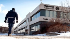 Bombardier employee walks to plant in Montreal