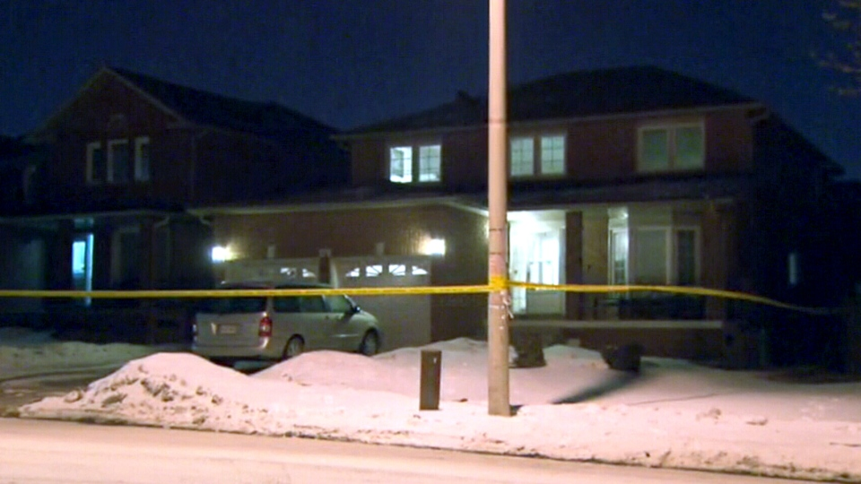 A woman is dead and a man with life-threatening injuries following a double stabbing on Kingknoll Dr. in Brampton, Tuesday, Jan. 21, 2014.