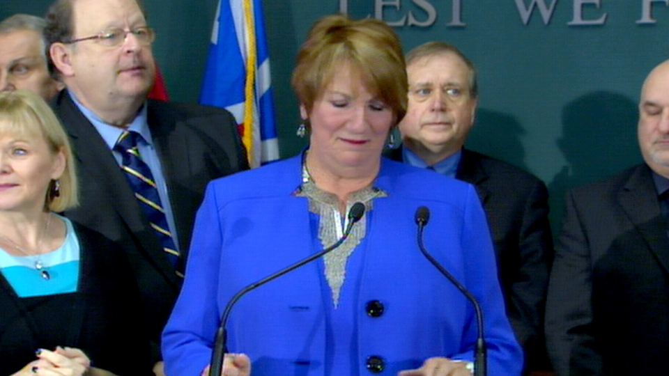 Newfoundland and Labrador Premier Kathy Dunderdale announces her resignation in St. John's, N.L., Wednesday, Jan. 22, 2014.
