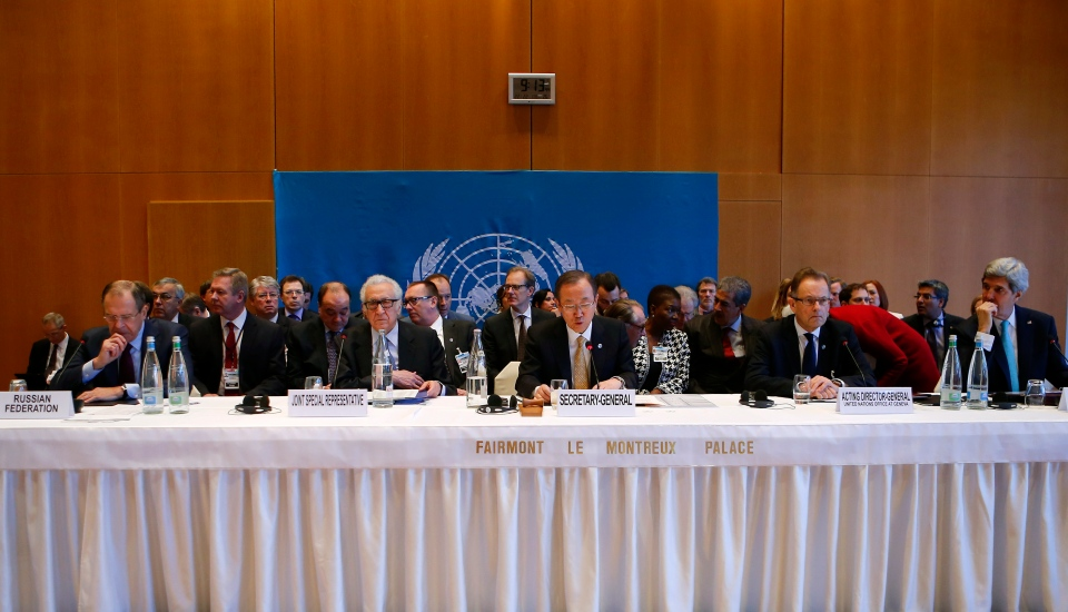 U.S. Secretary of State John Kerry, right, and Russian Foreign Minister Sergei Lavrov, left, attend the opening speech of UN Secretary-General Ban Ki-moon, centre, during peace talks in Montreux, Switzerland, Wednesday, Jan. 22, 2014. (AP / Arnd Wiegmann)
