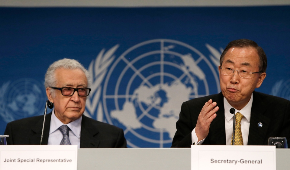 United Nations Secretary General Ban Ki-moon, right, speaks during a joint news conference with UN-Arab League Envoy to Syria Lakhdar Brahimi in Montreux, Switzerland, Wednesday, Jan. 22, 2014. (AP / Gary Cameron)