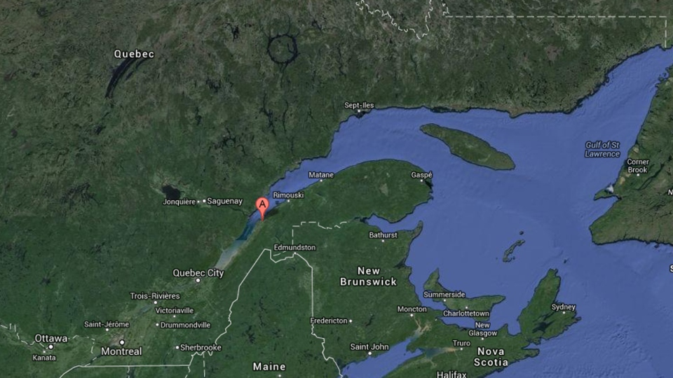 In this Google map the town of L'Isle-Verte, Que. is represented by the red point.