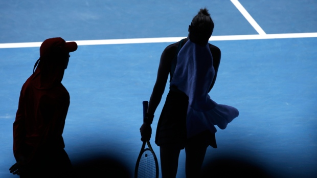Eugenie Bouchard, right, at the Australian Open