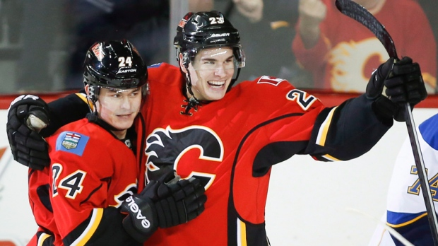 Jiri Hudler and Sean Monahan celebrate