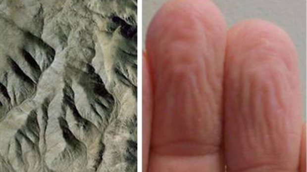 This photograph shows (on the left) an illustrative example of the relevant kind of mountain with the author's fingertips shown on the right. (Forbes)