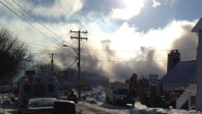 Smoke hours after fire began