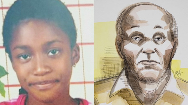 Noutene Sidime, 13, (left) prior to her death in October 2010. Her father Moussa Sidime (in a court sketch, right) will be charged with manslaughter, it was decided Wednesday.