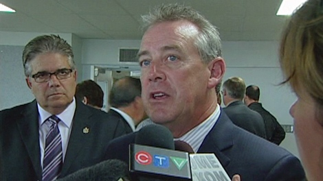 Saskatchewan Health Minister Don McMorris speaks to media in Moose Jaw on Tuesday.