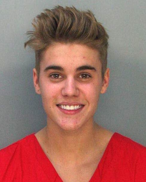 Justin Bieber's mugshot following his arrest by the Miami Beach Police Department.