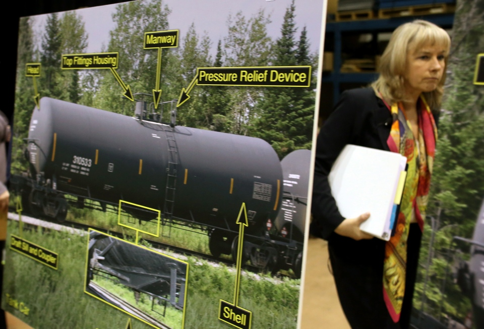Transportation Safety Board member Wendy Tadros walks behind a display of tanker cars as she concludes a news conference in Ottawa, Thursday, Jan. 23, 2014. (Fred Chartrand / THE CANADIAN PRESS)