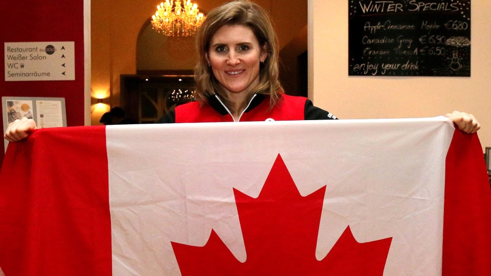 Women's ice hockey player Hayley Wickenheiser poses for a photo in St. Poelten, Austria, Thursday, Jan. 23, 2014. (AP / Ronald Zak)