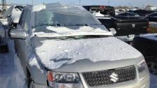 Lamp pole shatters windshield