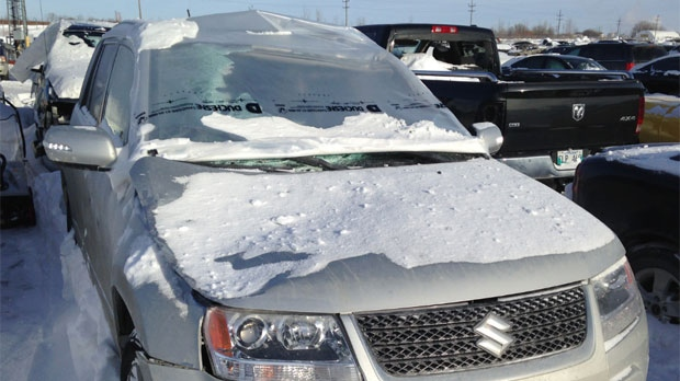 CTV's Eleanor Coopsammy had just crossed the northbound bridge on the west Perimeter Jan. 22, 2014 when a large metal lamp pole slammed against her windshield, shattering it.