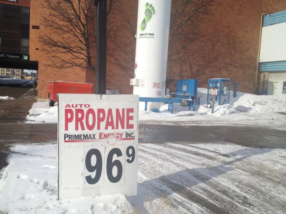 Propane is advertised for 96.9 cents per gallon in Kitchener, Ont., on Thursday, Jan. 23, 2014. (David Imrie / CTV Kitchener)