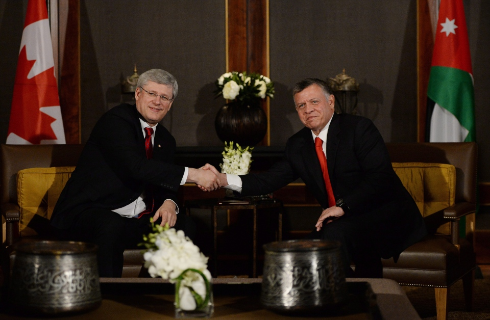 Prime Minister Stephen Harper meets with King Abdullah II at Al Husseinieh Palace in Amman, Jordan on Wednesday, Jan. 22, 2014. While in the Middle East Harper is visiting Israel, the West Bank, and Jordan. (AP/The Canadian Press, Sean Kilpatrick)