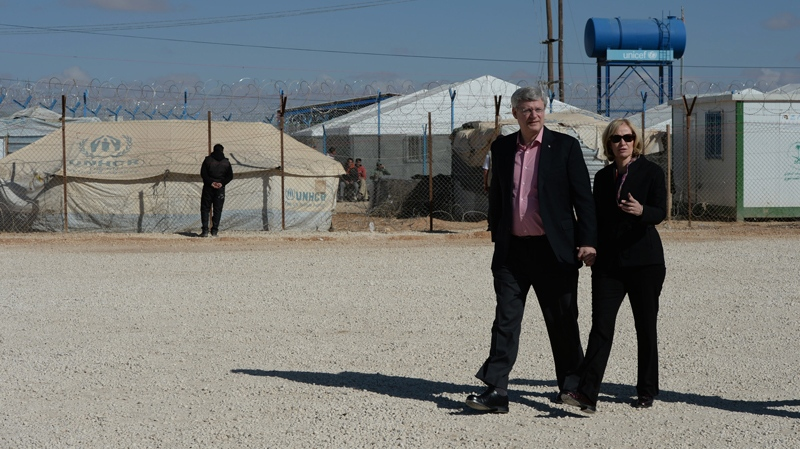 Prime Minister Stephen Harper and wife Laureen Harper visit Za'atari Refugee Camp in Jordan on Friday, January 24, 2014. (Sean Kilpatrick / THE CANADIAN PRESS))