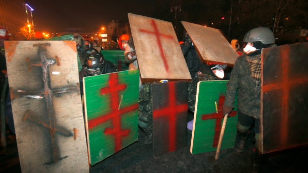 Ukraine protests resemble Medieval battle