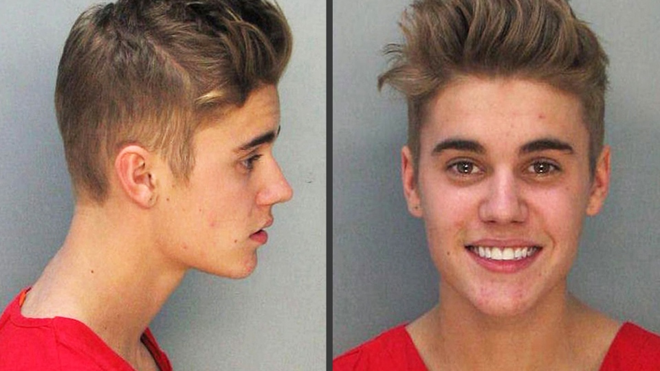 Justin Bieber smiles in this mugshot combination photo made available by the Miami Dade County Corrections Department.