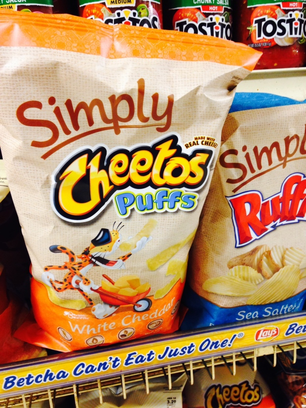Simply Cheetos are displayed in New York