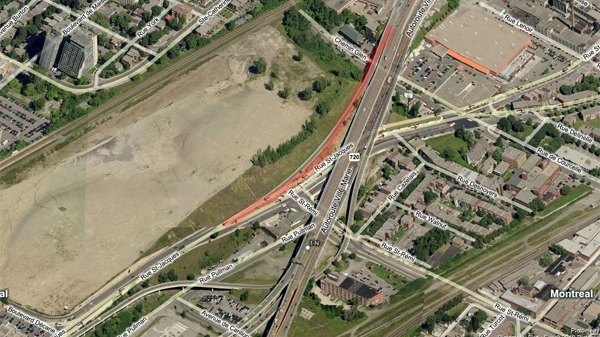Motorists can celebrate now that the St-Jacques exit from the 720 westbound (highlighted in red) is finally reopening after being closed since the start of February. (Image Bing maps)