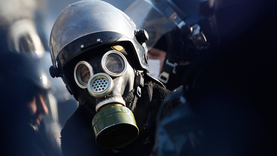 Wearing a gas mask a riot police officer guards a government district in central Kyiv, Ukraine, Friday, Jan. 24, 2014. (AP / Sergei Grits)
