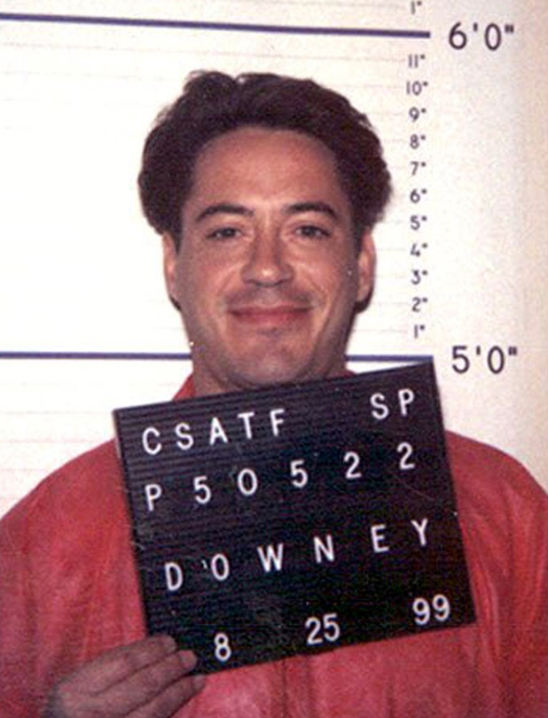 In August 1999, while serving time for a drug conviction, Robert Downey Jr. was snapped in this photo by the California Department of Corrections.