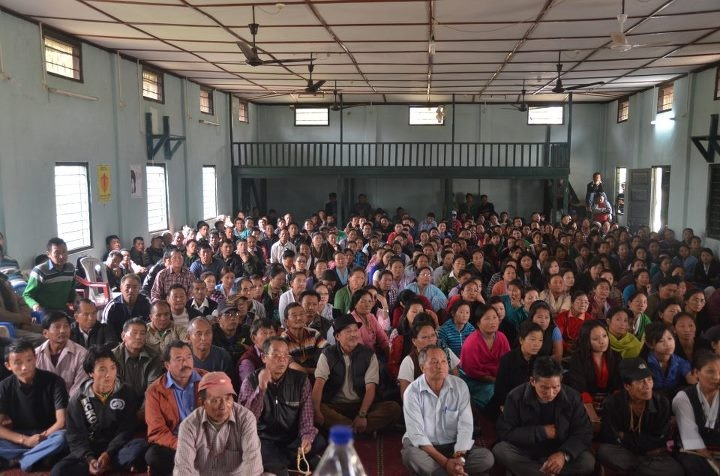 Public meeting on the Tibetan Resettlement Project in Miao, Arunachal Pradesh. (Project Tibet Society)