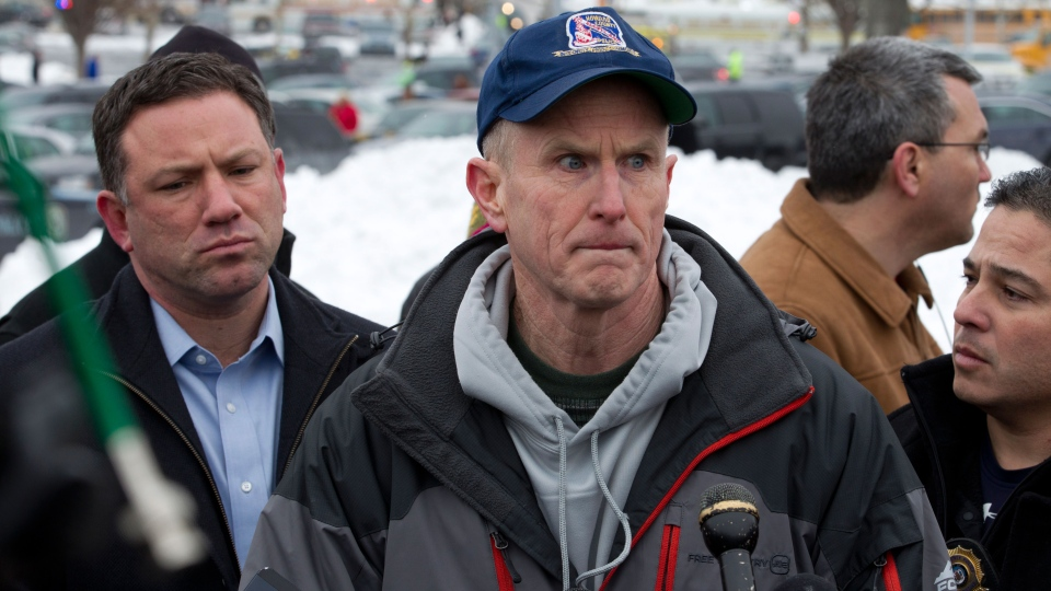 Howard County police chief William McMahon speaks to reporters at the parking lot of the Mall in Columbia, Md., after a shooting at the mall on Saturday Jan. 25, 2014. (AP / Jose Luis Magana)