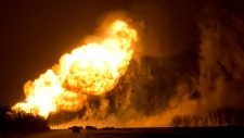 Pipeline explodes over Manitoba town