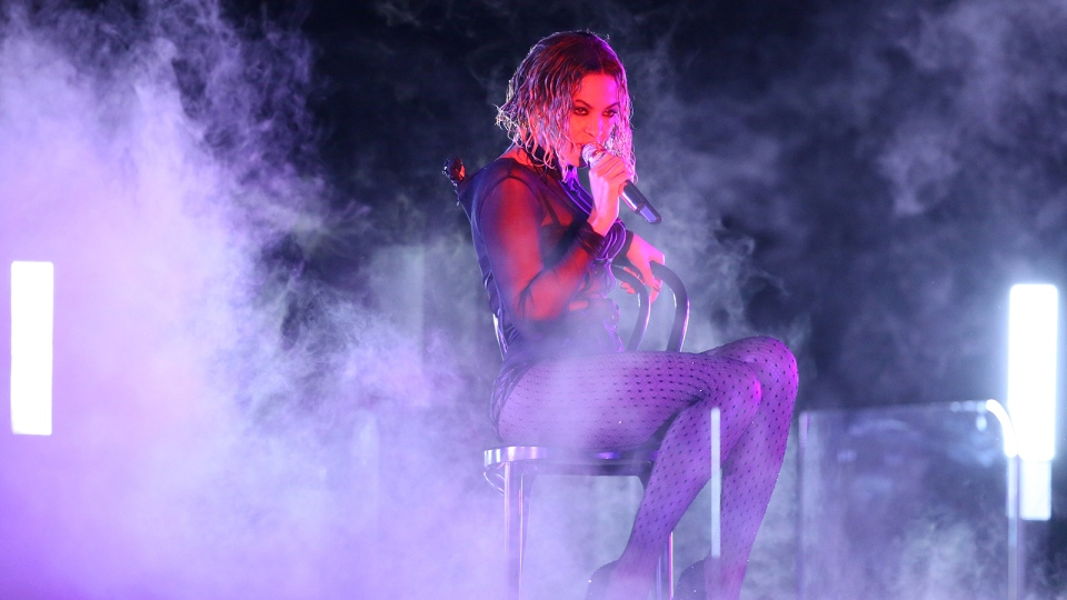 Beyonce performs 'Drunk in Love' at the 56th annual Grammy Awards at Staples Center on Sunday, Jan. 26, 2014, in Los Angeles. (Matt Sayles / Invision)