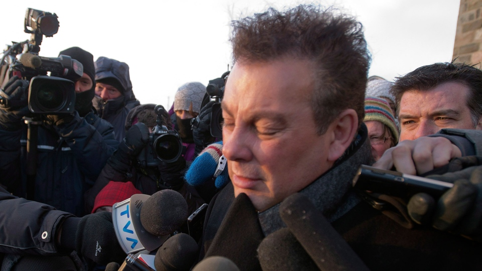 Roch Bernier, owner of the seniors residence that burned to the ground speaks to reporters after a commemorative service for victims of the fatal fire at a seniors residence in L'Isle-Verte, Que. on Sunday, January 26, 2014. (Ryan Remiorz / THE CANADIAN PRESS)