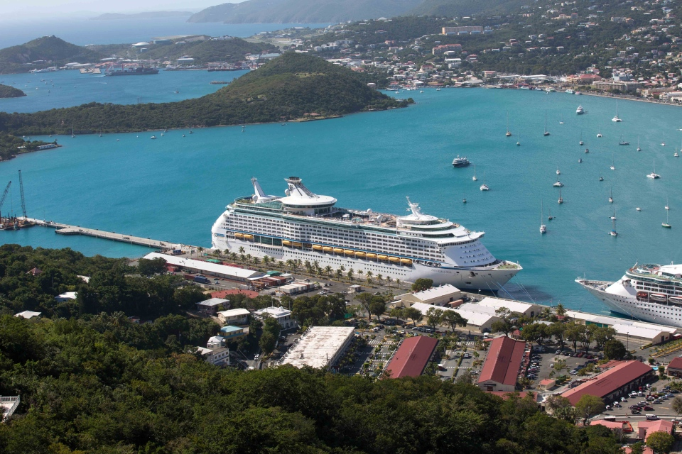 The Royal Caribbean International's Explorer of the Seas is docked at Charlotte Amalie Harbor in St. Thomas, U. S. Virgin Islands, Sunday, Jan. 26, 2014. (AP / Thomas Layer)