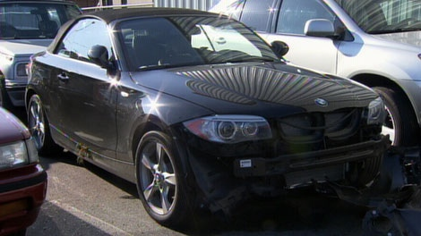 A newer model BMW was seized from a 17-year-old driver after police say it was used to street race in West Vancouver. Sept. 2, 2011. (CTV)