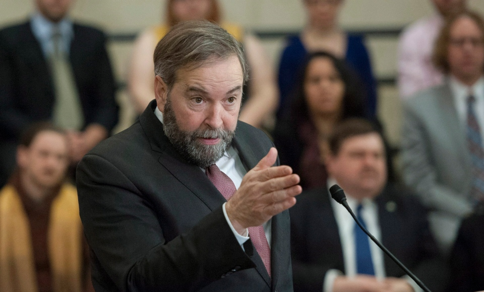 NDP Leader Tom Mulcair speaks to caucus members and party staff on Parliament Hill in Ottawa on Monday, Jan. 27, 2014. (Justin Tang / THE CANADIAN PRESS)