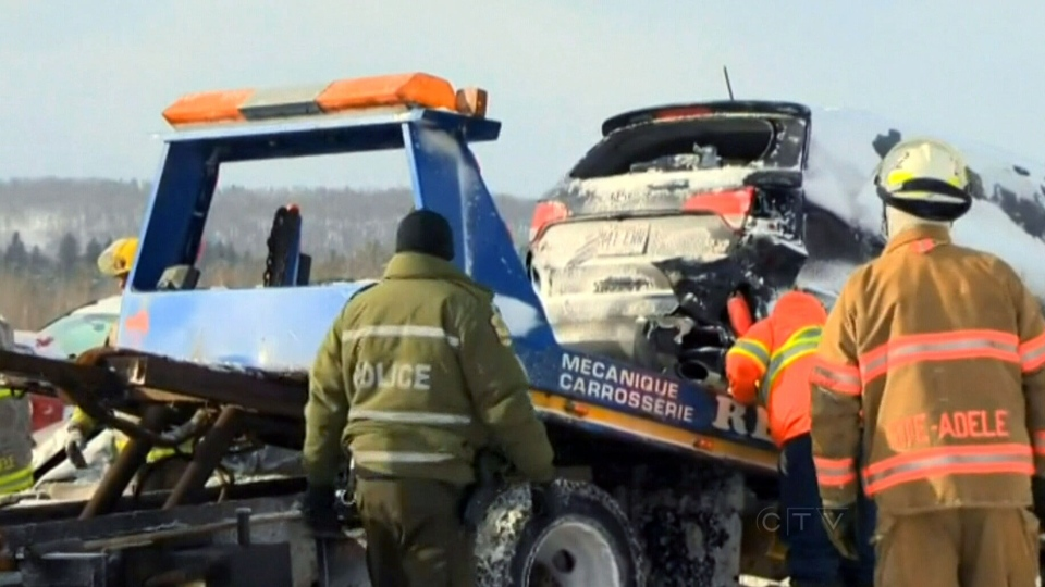 Blowing snow and whiteout conditions caused a multi-vehicle pileup in Montreal on Monday, Jan. 27, 2014.