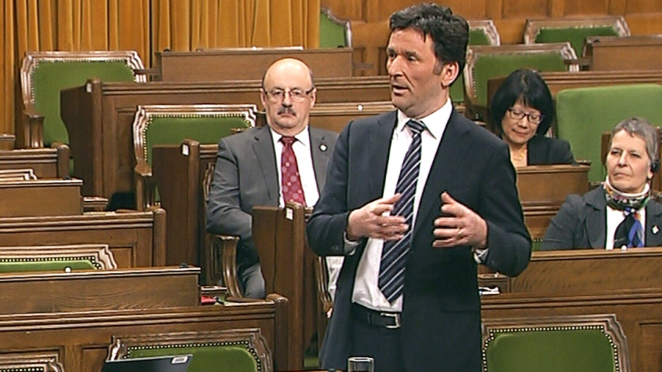 NDP MP Paul Dewar speaks during an emergency debate on the crisis in Ukraine, in the House of Commons in Ottawa, Monday, Jan. 27, 2014.