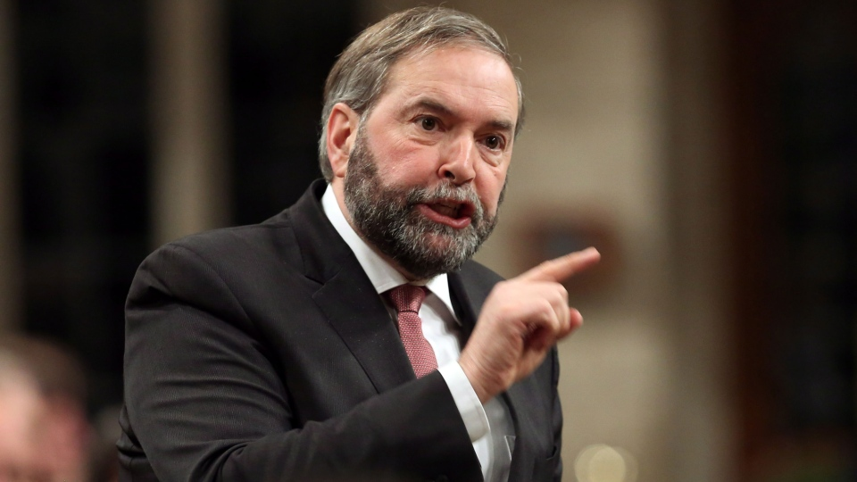Opposition and NDP Leader Thomas Mulcair stands in the House of Commons during question period in Ottawa on Monday Jan. 27, 2014. (Fred Chartrand / THE CANADIAN PRESS)