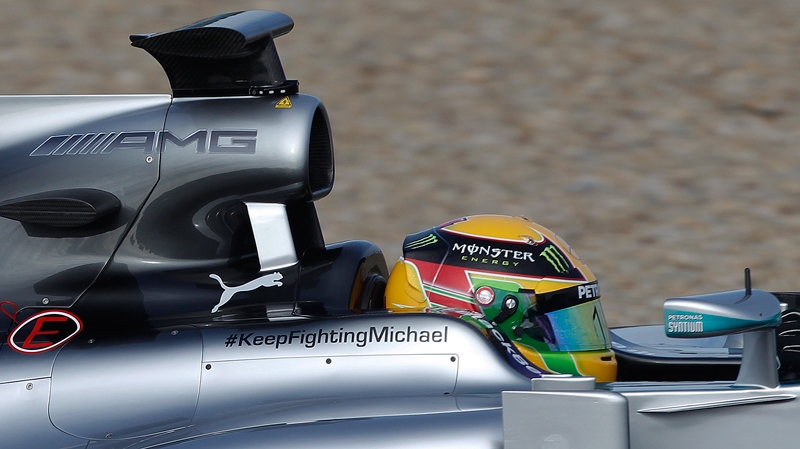 Mercedes driver Lewis Hamilton of Great Britain drives his Mercedes W05 Formula One car at the Circuito de Jerez on Tuesday, Jan. 28, 2014, in Jerez de la Frontera, Spain. (AP Photo/Miguel Angel Morenatti)