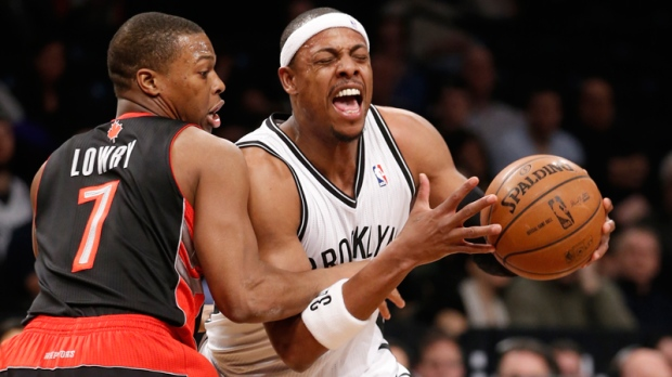 Kyle Lowry tangles with Paul Pierce in New York