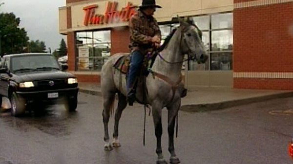Tim Hortons has apologized to a customer on horseback after staff at an Alberta location refused to let him trot past the drive-thru for a coffee last weekend.