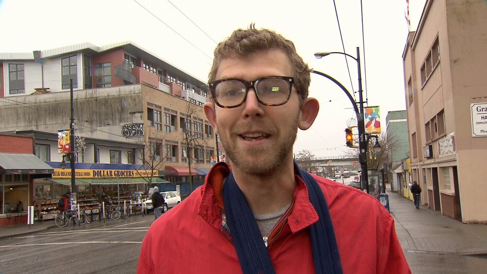 Cyclist Edward Hoey claims he was making a legal turn in downtown Vancouver last week when a driver cut him off, then proceeded to get out of his car and assault him. Jan. 28, 2014. (CTV)