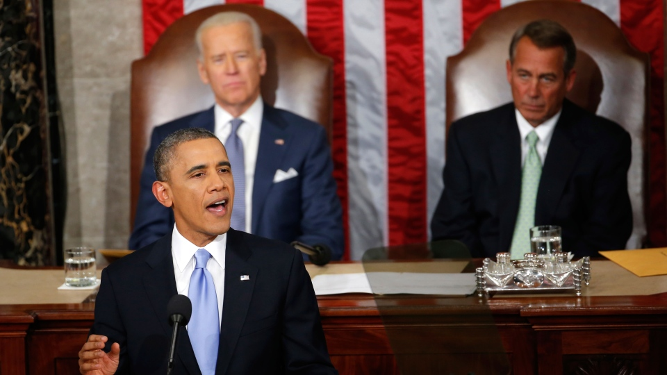U.S. President Barack Obama gives his State of the Union address on Capitol Hill in Washington, Tuesday Jan. 28, 2014. (AP / Charles Dharapak)