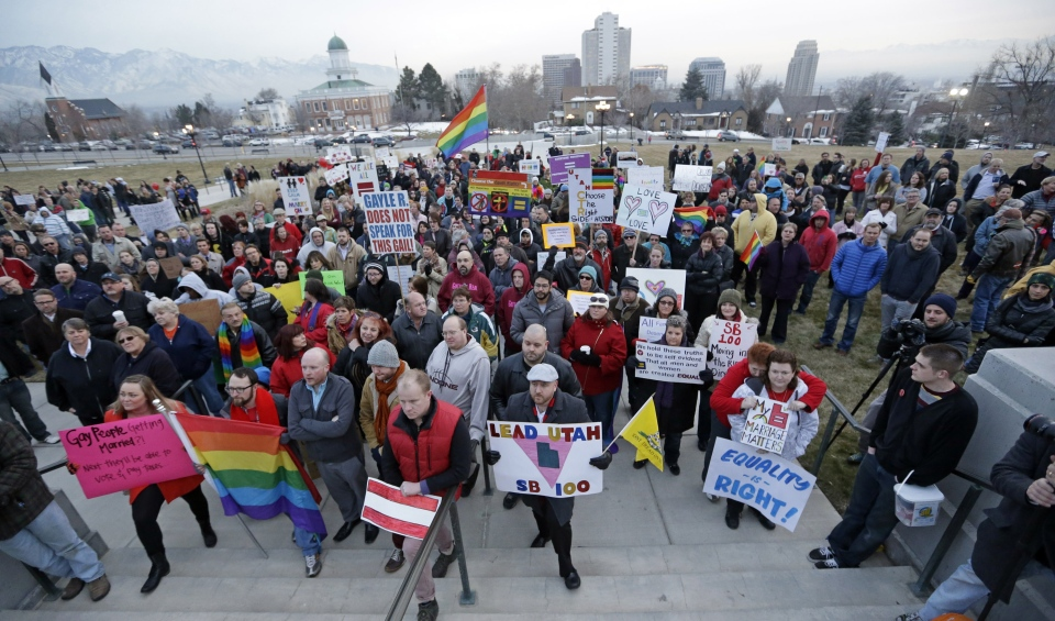 Supporters of gay marriage gather for a rally at the Utah State Capitol, Tuesday, Jan. 28, 2014, in Salt Lake City. (AP Photo/Rick Bowmer)