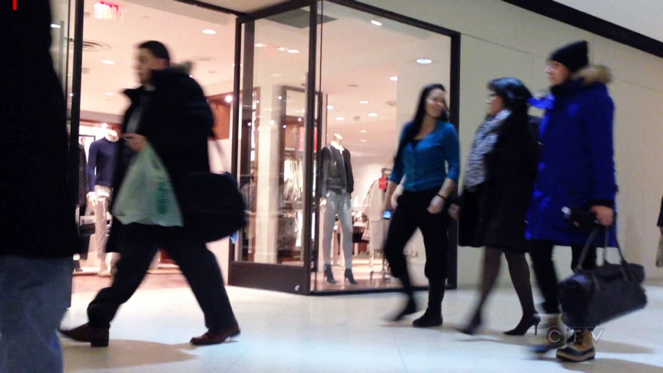 Conservative MP Leona Aglukkaq enters through a shopping mall after learning CTV News staked out the fundraiser she was attending at an upscale hotel in Ottawa, Ont., Tuesday, Jan. 28, 2014.