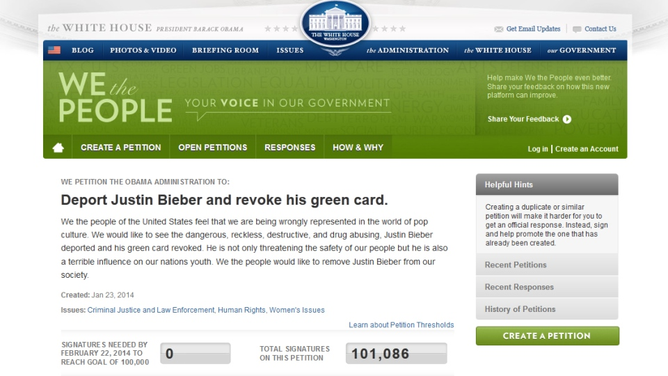 White House petition asking for Canadian pop star Justin Bieber to be deported from the U.S.